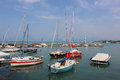 Yachts and boats in Peschiera del Garda harbor, Lake Garda Royalty Free Stock Photo