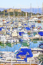 Yachts and boats in the port of antibes cote d azur Royalty Free Stock Images