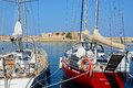 Yachts in Chania harbour, Crete.