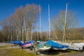Yachts at Cheddar Axbridge Reservoir Somerset England Royalty Free Stock Image