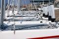 Yachts on coast Royalty Free Stock Photos