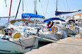 Yachts on dock several croatia Royalty Free Stock Images