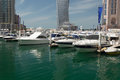 Yachts at dubai marina luxury united arab emirates Royalty Free Stock Photos