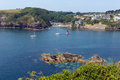 Yachts at entrance to fowey river cornwall from polruan england near st austell on a beautiful summer day Royalty Free Stock Images