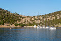 Yachts in a gulf sailing at dokos island greece Royalty Free Stock Image