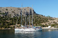 Yachts in a gulf sailing at dokos island greece Stock Images