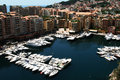 Yachts in the harbor of monaco view to luxury Royalty Free Stock Photos