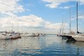 Yachts in harbor moored of seaport Stock Photo