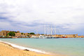 Yachts in a harbor the old of rhodes rhodes island greece Stock Image