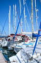 Yachts masts in marina yacht mast latchi cyprus Royalty Free Stock Images
