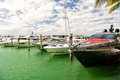 Yachts in miami marina bay at south beach with cloudy sky Royalty Free Stock Photo