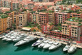 Yachts and modern buildings in monte carlo monaco marina with boats among view from above Stock Photo