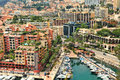 Yachts and modern buildings in monte carlo monaco small marina with boats among view from above Royalty Free Stock Photos