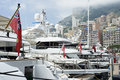 Yachts at monaco moored port hercule in the la condamine district of close to monte carlo Stock Images