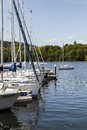 Yachts moored at Boweness on Windermere, Lake Windermere. Royalty Free Stock Photo