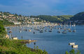 Yachts Moored on the Dart Estuary at Kingswear and Dartmouth Royalty Free Stock Photo