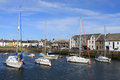 Yachts moored in Isle of Whithorn harbor Scotland Stock Images
