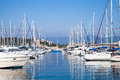 Yachts moored in marina of ajaccio the capital corsica french island the mediterranean sea Stock Image