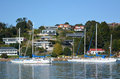 Yachts mooring in the Bay of Islands New Zealand Royalty Free Stock Photo