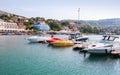 Yachts and pleasure motor boats are moored in marina of balchik bulgaria Royalty Free Stock Photo