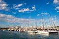 Yachts in the port beautiful day landscape with Royalty Free Stock Photo