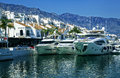 Yachts in puerto banus marina of marbella spain luxury the Royalty Free Stock Photos