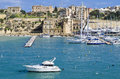 Yachts senglea marina berthed at the on the island of malta Royalty Free Stock Photo