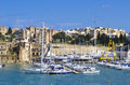 Yachts senglea marina berthed at the on the island of malta Stock Photos