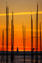 Yachts at sunset Royalty Free Stock Photography