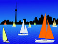 Yachts and Toronto skyline Royalty Free Stock Photography