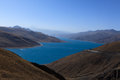 Yamdrok lake the mountain and sky tibet winter Royalty Free Stock Images