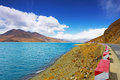Yamdrok lake in tibet china yambdrok referred sheep less than kilometers away from lhasa and namtso ma yong measures and said the Stock Photo
