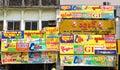 Yangon, Myanma - March 9, 2015: Full of adverts wall in Yangon Myanma