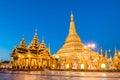 Yangon, Myanmar view of Shwedagon Pagoda at dusk. Royalty Free Stock Photo