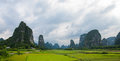 Yangshuo china landscape and karst mountains Royalty Free Stock Images