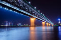 The yangtse river china night light asia developing country autumn bridge building wuhan Royalty Free Stock Images