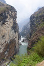 Yangtze river canyon a major tributary of the running through the narrows canyons of tiger leaping gorge in yunnan province near Stock Image