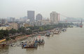 Yangtze river and dock in Wuhan Royalty Free Stock Photo