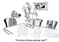 Yap rather than yes business cartoon about meetings the business dog accidentally said Stock Photo
