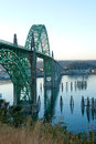 Yaquina bay bridge in newport or at sunrise oregon it was taken use Royalty Free Stock Photography