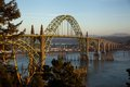 Yaquina bay bridge this softly alight with the setting sun is a newport landmark opened in on route coast highway in oregon this Stock Images