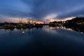 Yaquina Bay and Newport marina, Oregon, at twilight