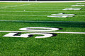 50 Yard Line at Football Field Royalty Free Stock Photo
