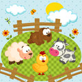 Yard with pets farmyard cute vector Stock Photo