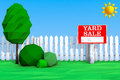 Yard Sale Board on grass Field in Low Polygons Style. 3d Renderi Royalty Free Stock Photo