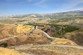 Yarmouk River valley on the border between Jordan and Israel. Royalty Free Stock Photo