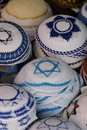 Yarmulkes with david's star Stock Images