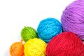 Yarn balls colorful on white background Royalty Free Stock Photo