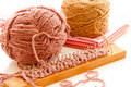 Yarn balls with loom knitting Royalty Free Stock Photos