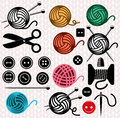 Yarn balls and sewing equipment icons Stock Image